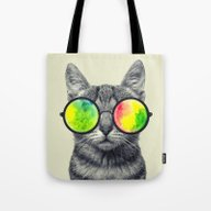 Psychedelic Feline Tote Bag