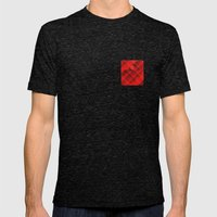 Plaid Pocket - Red Mens Fitted Tee Tri-Black SMALL