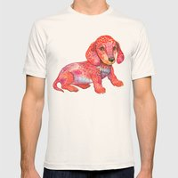 Mini Dachshund  Mens Fitted Tee Natural SMALL