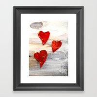 Hearts on Grey Framed Art Print