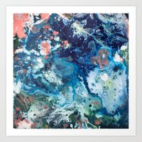 Color Commentary #15: Genesis (Teal {more blue than green} & Salmon) [Brianne Villano] Art Print