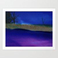 Nightime Grasses ~ Abstr… Art Print