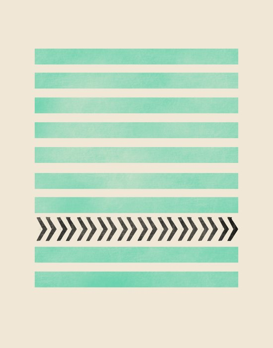 MINT STRIPES AND ARROWS Art Print