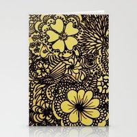 Hippy Happy Golden Flower power Stationery Cards