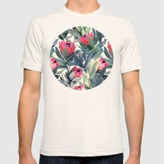 Painted Protea Pattern Mens Fitted Tee Natural SMALL