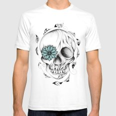 Poetic Wooden Skull SMALL Mens Fitted Tee White