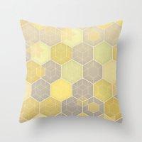 Lemon & Grey Honeycomb Throw Pillow