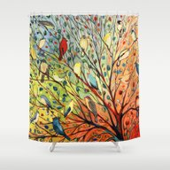 Shower Curtain featuring 27 Birds by Jennifer Lommers