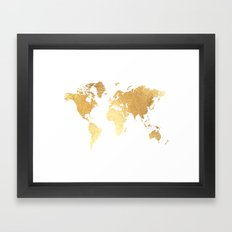 Textured Gold Map Framed Art Print