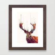 Framed Art Print featuring Red Deer // Stag by Amy Hamilton