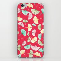 Gingko Leaves On Red iPhone & iPod Skin