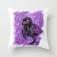 Crying Crow Throw Pillow