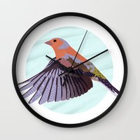 Chaffinch In Flight Wall Clock