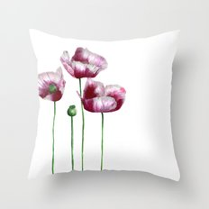 Lilac Poppies Throw Pillow