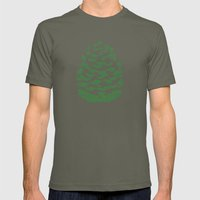 Pinecone Green And White Mens Fitted Tee Lieutenant SMALL