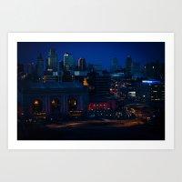 Blue Winter Lights Art Print