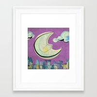 Moon - purple Framed Art Print
