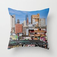 Lower East Side, New York City Art, NYC Architecture Photography, Urban Prints, Blue Wall Art Throw Pillow