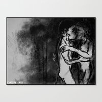 Lovers Against the Wall Canvas Print