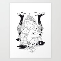 Animal's Hat Art Print