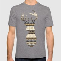 Dusty Stag Head Aztec Print Mens Fitted Tee Tri-Grey SMALL