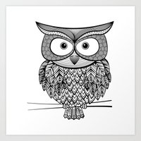 Hoot! Says the owl Art Print