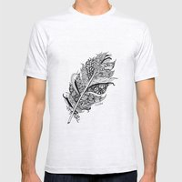 Feather Black and White 3 feathers Bird birds Zen Mens Fitted Tee Ash Grey SMALL