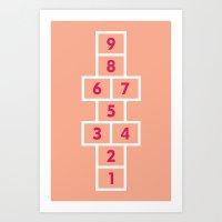 Hopscotch Pink Art Print