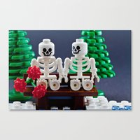 Skeletons are shy too Canvas Print