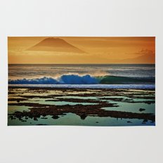 Indonesian Wave and Volcano Rug