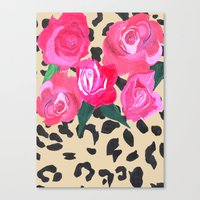 Roses and Leopard Print Canvas Print