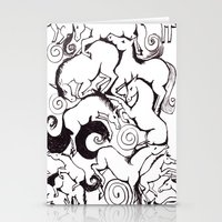 B&W Horse Pattern Stationery Cards