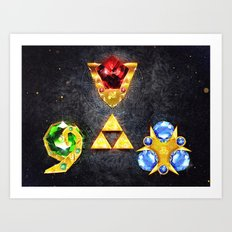 The Timeless Legend of Zelda Inspired Spiritual Stones Art Print