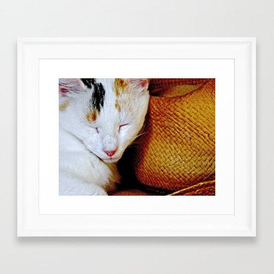 The Cowboy's Cat Framed Art Print