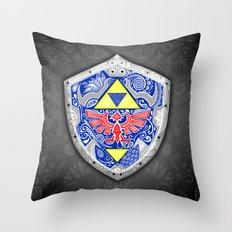 Zelda's shield - black Throw Pillow