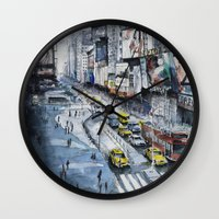 Time square - New York City - Illustration watercolor painting Wall Clock