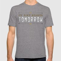 My Diet Starts Tomorrow Mens Fitted Tee Tri-Grey SMALL