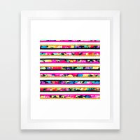 Neon floral pattern pink gold glitter stripes Framed Art Print