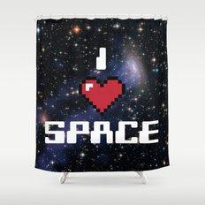 I Heart Space Retro Galaxy Shower Curtain