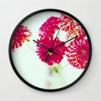 Pom Pom Dahlias Wall Clock