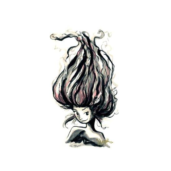 Fiery Hair Art Print