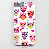 Cute colorful retro style owl illustration pattern iPhone 6 Slim Case