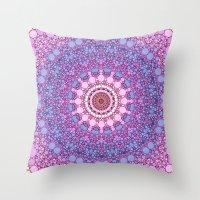 pink and blue kaleidoscope Throw Pillow