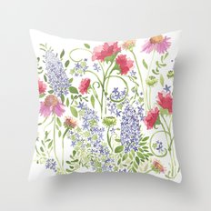Flowering Meadow - Watercolor Throw Pillow