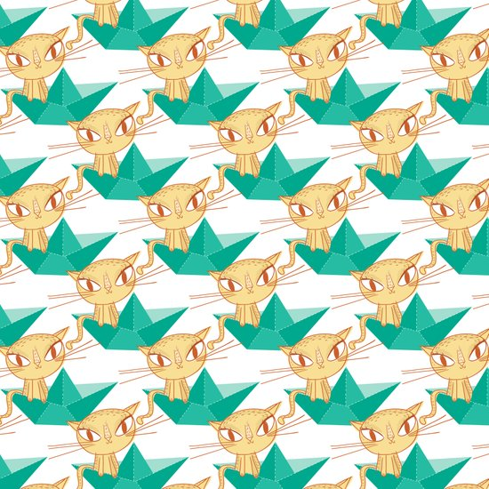 Pea Green boat Pattern Art Print