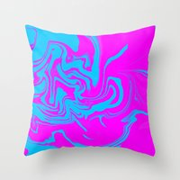 Blue and pink swirls  Throw Pillow