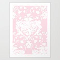 giving hearts giving hope: pink damask Art Print