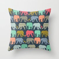 Baby Elephants And Flami… Throw Pillow