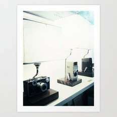 Vintage Camera Lamps Art Print