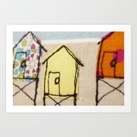 Embroidered Beach huts Art Print